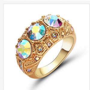 Jewelry - Cocktail Ring Size 8 18KT Gold Filled AB Crystal